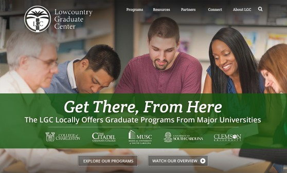 Proposed homepage mockup for the Lowcountry Graduate Center's new website