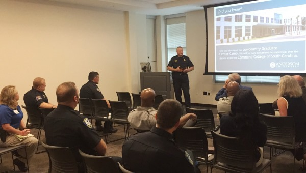 Mt. Pleasant Police Chief Carl Ritchie speaks to his fellow officers about Anderson University's Master of Criminal Justice program