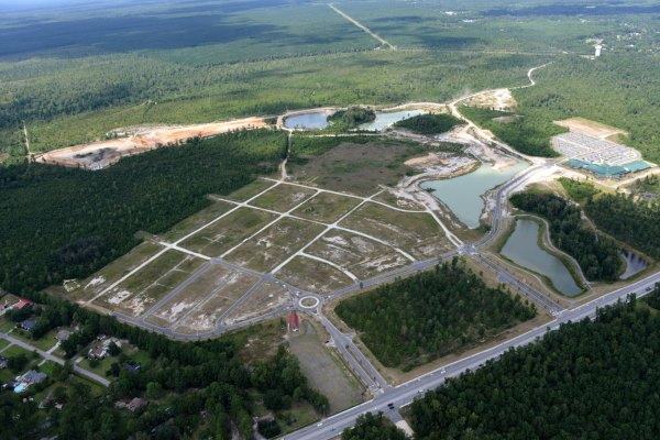 Aerial view of the construction for the Carnes Crossroads community