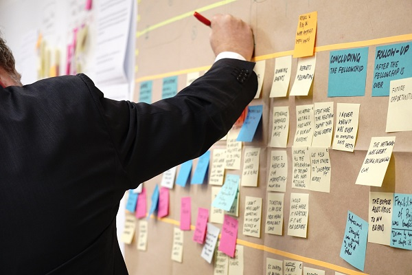 Man in suit planning out work flows on post-it note wall