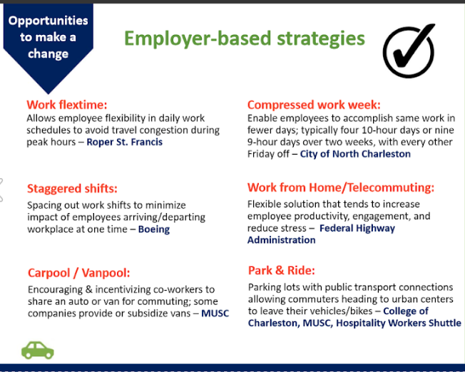 Employer-based strategies to decrease commute time from Charleston Regional Development Alliance
