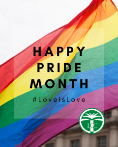 Rainbow Flag background with text reading: Happy Pide Month #LoveIsLove. LGC Logo on bottom right corner.